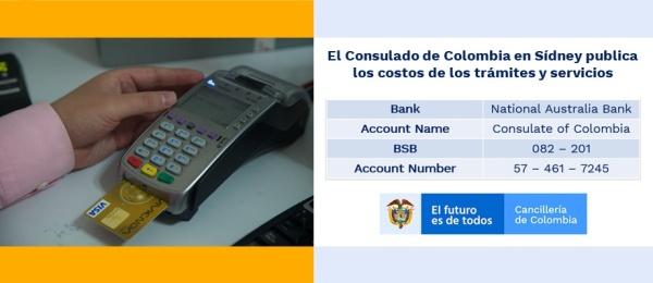 El Consulado de Colombia en Sídney publica los costos de los trámites